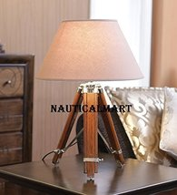 Vintage Homedecore Wood & Steel Tripod Table Lamp Stand With Shade By Nauticalma - $146.02