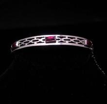 art deco bracelet / signed bangle / pink stone / Vintage rhodium plate B... - $95.00
