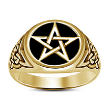 14K Yellow Gold Finish 925 Sterling Silver Mens Star Design Engagement R... - $114.99