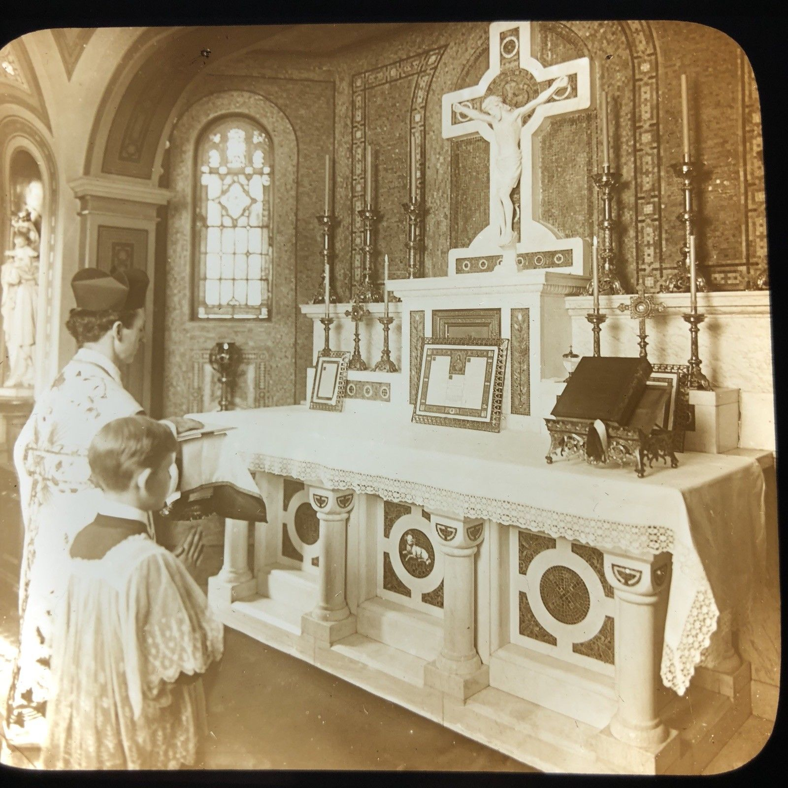 Vtg Magic Lantern Glass Slide Photo Catholic Holy Mass Priest Arriving At Alter