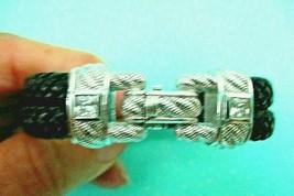 JUDITH RIPKA Sterling Silver Diamonique Double Strand Black Bracelet Siz... - $143.95