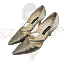 Anne Klein Women's Taupe Closed Pointed Toe Slip On Satin Leather Heels Sz 8M - $24.88
