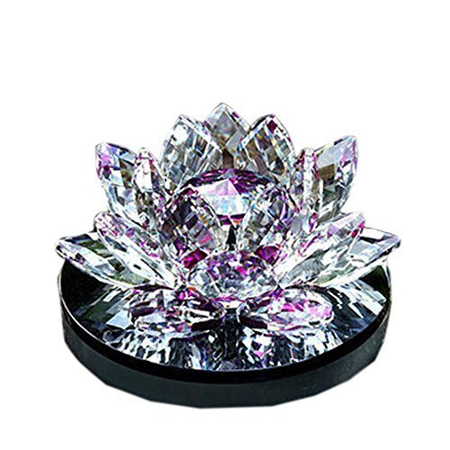 PANDA SUPERSTORE Romantic Purple Crystal Lotus Car Decors Perfume Auto Ornaments