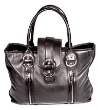 DKNY Black Leather Triple Compartment Tote Shopper Handbag - $43.99