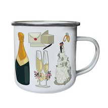 New Champagne Wedding Elements Retro,Tin, Enamel 10oz Mug h344e - $13.13