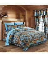 The Woods Camo Powder Blue 12 piece Queen Comforter and Sheet Set and Cu... - $90.25