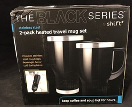 Automotive Heated Travel Mug 14oz-2 Pack The Black Series Shift 3 Stainl... - $9.99