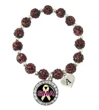 Custom Spinal Muscular Atrophy Awareness Red Bling Bracelet Jewelry Initial - $14.10+