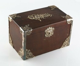 Vintage Legno Sigari Scatola Humidor W/ Metallo Liner & Antico Piatto D'... - $1,247.81