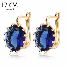 17KM® 4 Colors Steampunk Gold Color Blue Crystal Flower Stud Earrings Fo... - $4.59