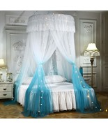 Canopy Bed Curtains with Lights Round Dome Bed Curtains Mosquito Net for... - $83.99+