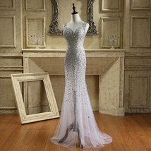 Sexy Backless Evening Dresses Mermaid Crystal Beading Prom Bridal Gowns ... - $105.59