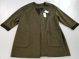 new Tahari women cardigan jacket faux leather TH94228W 62349 olive sz 1X... - $44.05