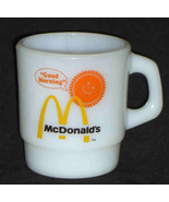 Fire King McDonald's Mug Good Morning Anchor Hocking Orange White - $14.95