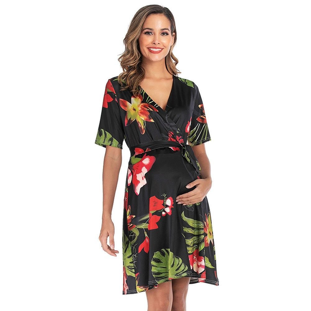 Maternity's Dress V Neck Short Sleeve Floral Print Dress image 2