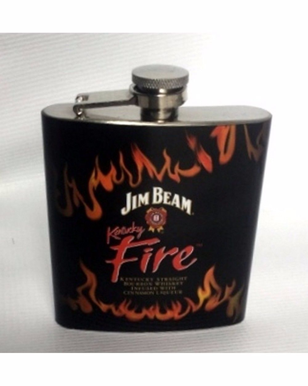 "Flask ""Jim Beam Kentucky Fire"" Bourbon Stainless Steel, Black rubber wrap w logo"