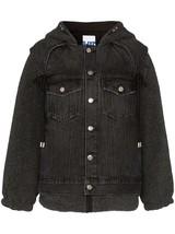 SJYP Tie Hooded Sherpa Denim Jacket Black XS Faux Shearling Coat Steve J... - $960.59