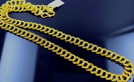 20 INCHES CURB DOUBLY LINK CHAIN HANDMADE 22 K YELLOW GOLD UNISEX CHAIN  - $2,412.53