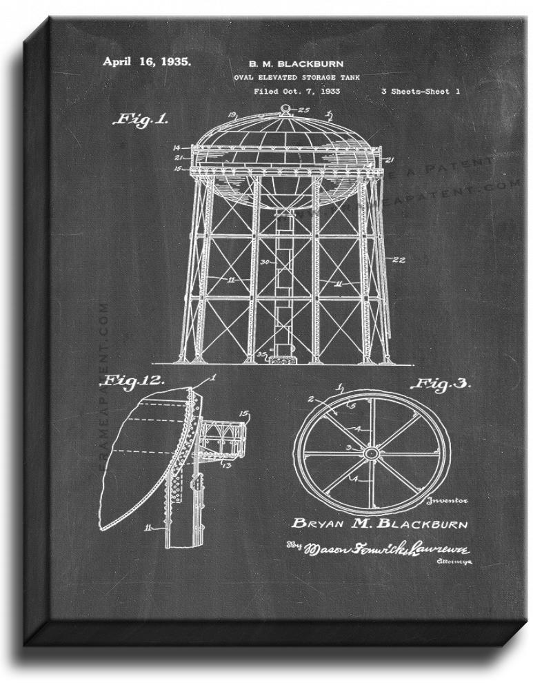 Primary image for Water Tower Patent Print Chalkboard on Canvas