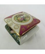 Victorian Garden Scene Trinket Box Kalk Germany Numbered Porcelain Mini ... - $29.69
