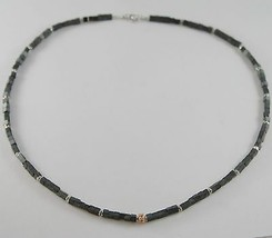 Necklace Giadan 925 Silver Hematite & Shiny with 8 Diamond Black Made in Italy image 1