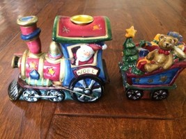 New Vintage Train Locomotive Christmas Candle Holder Ceramic 2 piece 6x4... - $16.45