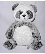 Aurora Panda Bear Frosted Black Grey White Plush Stuffed Animal Sitting - $14.82