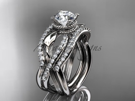 Platinum  double wedding band with a Moissanite center stone  ADLR70S - $4,165.00