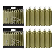 Mega Candles 40 pcs Unscented Gold Mini Taper Candle, 4 Inch Tall x 1/2 ... - $17.53