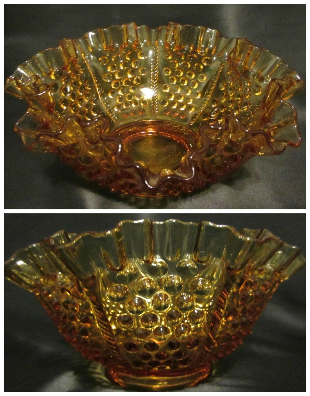 """Vintage Fenton Glass Hobnail Amber 8"""" Candy Dish Bowl Ruffled Crimped Collectibl - $19.77"""