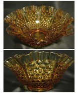 "Vintage Fenton Glass Hobnail Amber 8"" Candy Dish Bowl Ruffled Crimped Collectibl - $19.77"