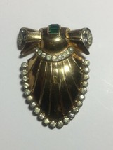VINTAGE CORO SIGNED RHINESTONE GREEN CLEAR GOLD TONE ART DECO DRESS CLIP - $95.00