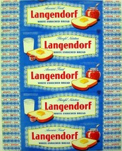 Vintage bread wrapper LANGENDORF dated 1954 California and Oregon new ol... - $11.69