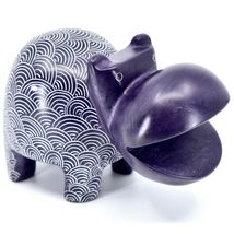Vaneal Group Hand Carved Soapstone Large Heavy Purple Hippopotamus Hippo Bookend image 5