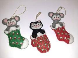x3 Bucilla Kitts-Mitts & Mice Jeweled Holiday Ornaments #48621 Christmas Cat - $14.85