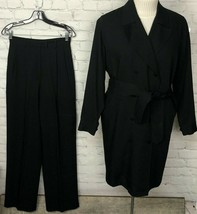 VTG Isaac Mizrahi Trench Coat DB Pants Set Black Rayon Wool Blend Women'... - $148.50