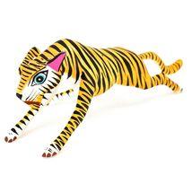 Handmade Alebrijes Oaxacan Wood Carving Painted Folk Art Orange Tiger Figurine image 3