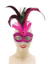 Rose + Grand Paon Plume, Mascarade Masque Yeux , Bal Masqué, Déguisement - £3.84 GBP