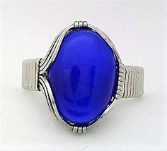 Blue Cat Eye Stainless Steel Wire Wrap Ring 5 - $10.30