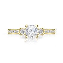 14k Yellow Gold Over Three Stone Ring Diamond Wedding Engagement Ring Si... - $29.69