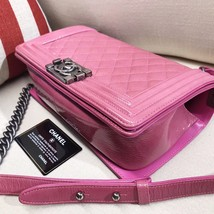 AUTHENTIC CHANEL PINK QUILTED GLAZED CALFSKIN MEDIUM BOY FLAP BAG RHW image 6