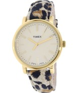 Timex Women's Heritage TW2P69800 Cheetah Suede Printed Leather Quartz Watch - $45.53