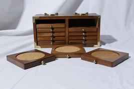 Vtg Goodwood Taiwan Mid Century Modern Retro Teak Wooden Coasters Bar Decor - $39.55