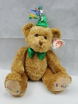 Ty Beanie Baby Buddies Collection  Happy Birthday Bear green Hat 2006 (L) - $10.00