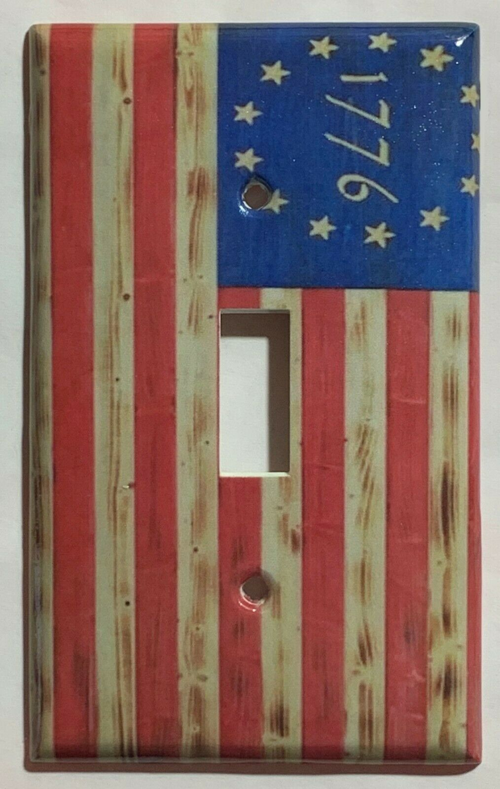 Betsy Ross star 1776 US Flag Wooden Switch Outlet wall Cover Plate Home Decor
