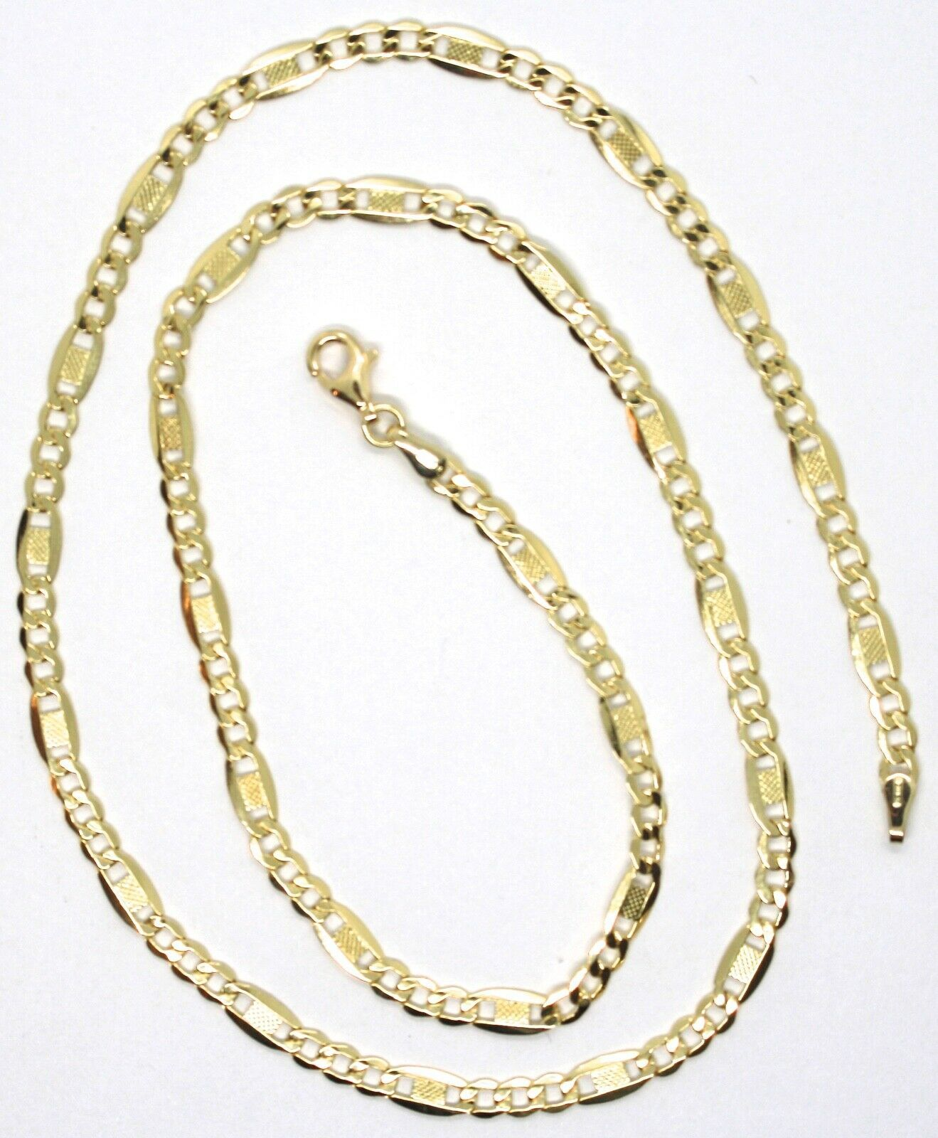 Chain Yellow Gold 18K 750, 50 cm, Curb Flat and Plates Bluebeat, 4 MM image 4