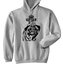 Keep Calm Love Pug 2 P - New Cotton Grey Hoodie - $39.80