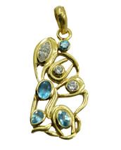 excellent Blue Topaz CZ Gold Plated Blue Pendant Glass handmade US - $11.28