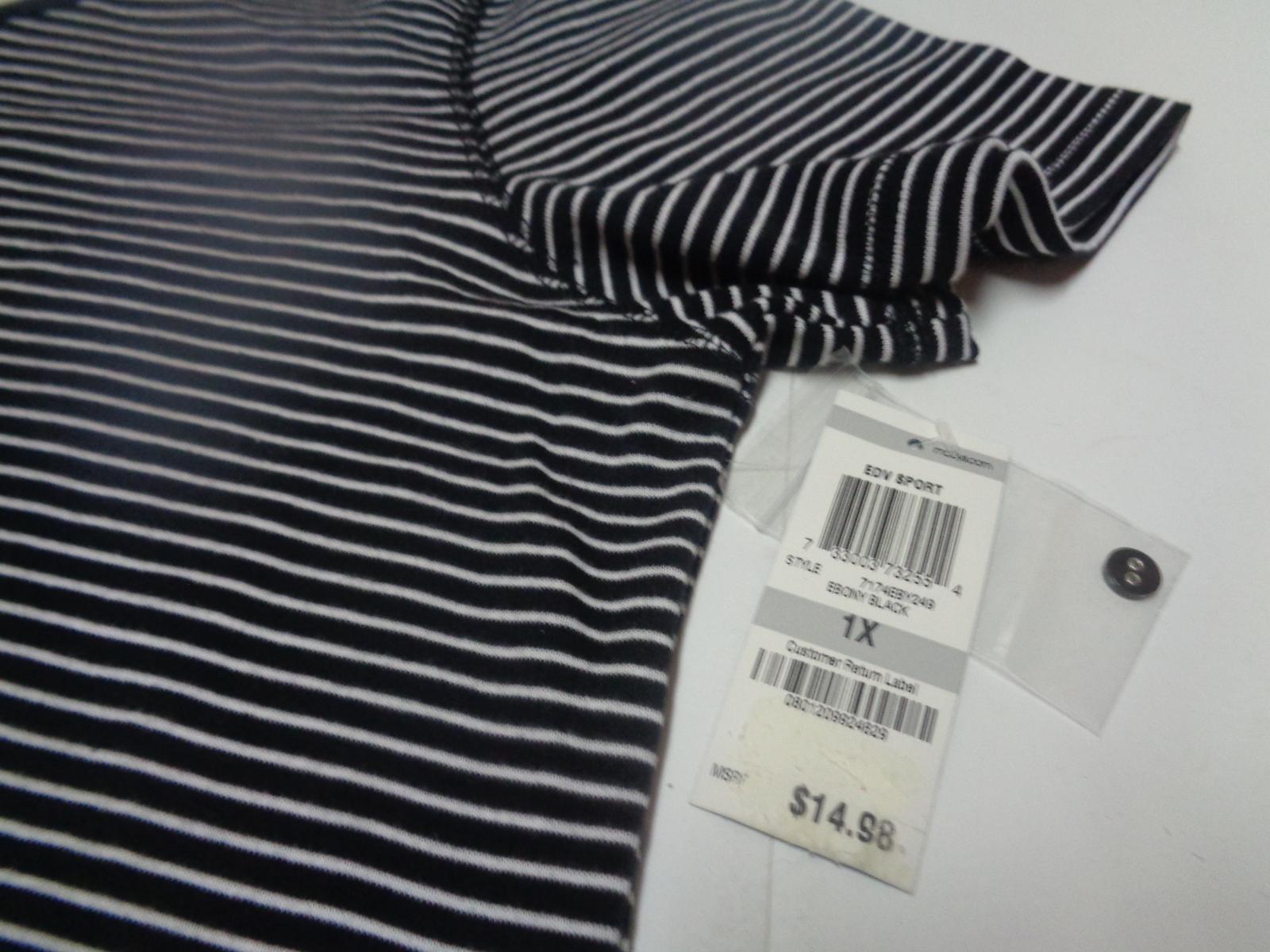Karen Scott Women's Blouse Top Shirt Black & White Striped SZ 1X