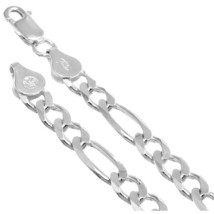 7.5mm ITALY Heavy Solid 925 Sterling Silver Mens Figaro Chain Necklace B... - $55.42+